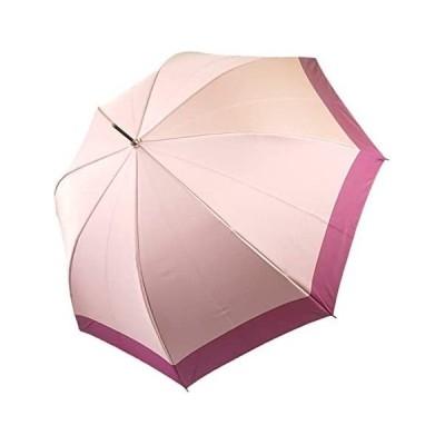 SanmenAce(サンメンエース) レディース長傘 日本製生地 先染めツートンカラー ワンタッチジャンプ傘 (ピンク 親骨の長さ:60cm)