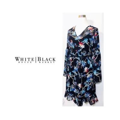 ワンピース ホワイトハウスブラックマーケット White House Black Market Bell Sleeve Printed Dress Onyx  Blue 4 6 8