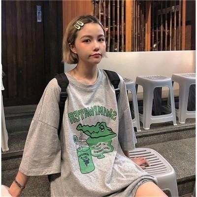 Tシャツ レディース 半袖 トップス夏 日系 ファッション レディース ゆったり カジュアル 甘い可愛い Tシャツ