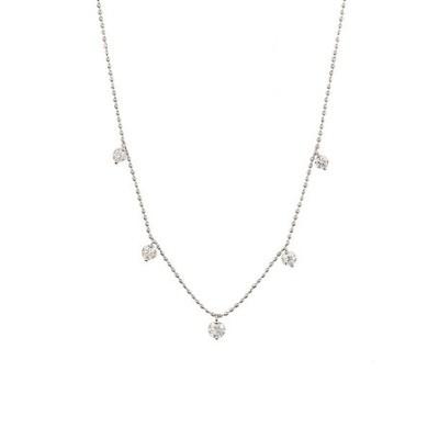 K18 ホワイトゴールド ダイヤモンド ステーション ネックレス