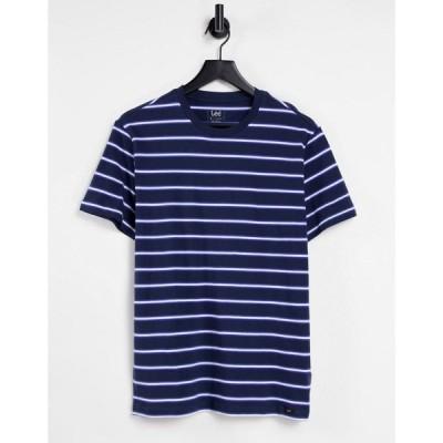 リー Lee メンズ Tシャツ トップス Stripe T-Shirt ネイビー
