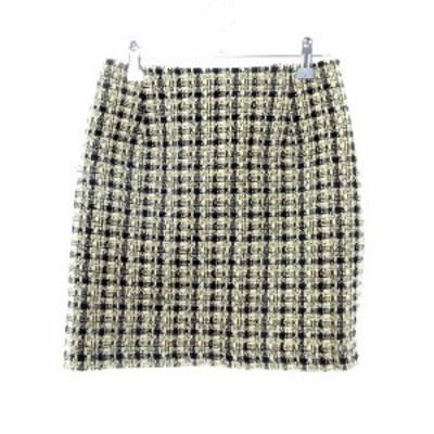 【中古】スウィングル Swingle スカート 台形 ミニ ウール 総柄 S ベージュ /MO レディース
