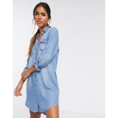 ヴェロモーダ ミディドレス レディース Vero Moda denim shirt dress エイソス ASOS ブルー 青
