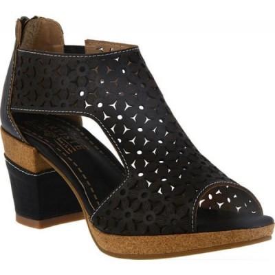 スプリングステップ L'Artiste by Spring Step レディース ブーツ オープントゥ シューズ・靴 Hibiskus Open Toe Bootie Black Leather