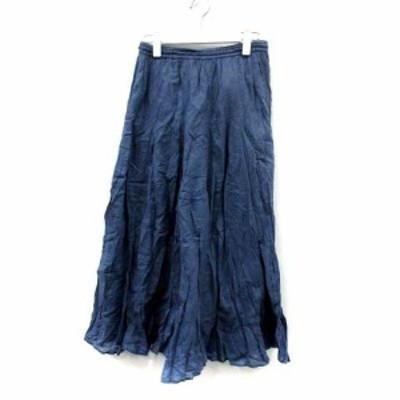 【中古】イエナ IENA 18SS スカート フレア ギャザー ロング マキシ コットン 紺 ネイビー /YI17 レディース