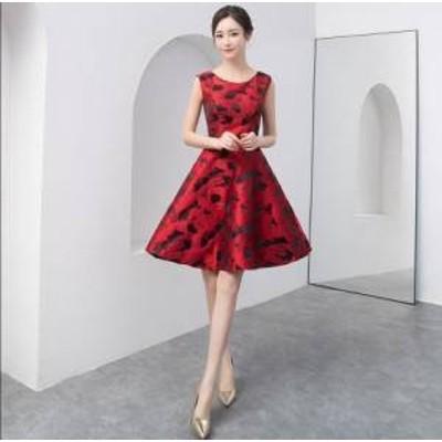 ドレス ワンピース ミニ丈 ノースリーブ 赤 黒 20代 上品 きれいめ エレガント 春夏 結婚式 お呼ばれ a603