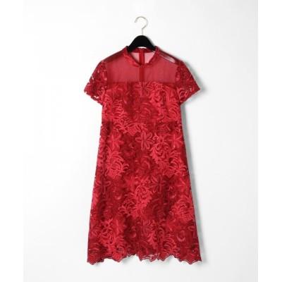 (GRACE CONTINENTAL/グレースコンチネンタル)チュール刺繍フレアワンピース/レディース レッド