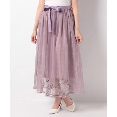 (axes femme/アクシーズファム)リリー柄チュール刺繍スカート/レディース ラベンダー