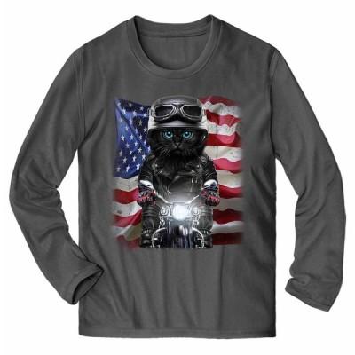 【黒猫 ねこ バイク 星条旗 アメリカ】メンズ 長袖 Tシャツ by Fox Republic