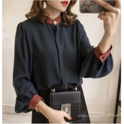 トップス シャツ ブラウス とろみ シフォン ネイビー フェミニン 上品 おしゃれ 袖デザイン OL オフィス mme2091
