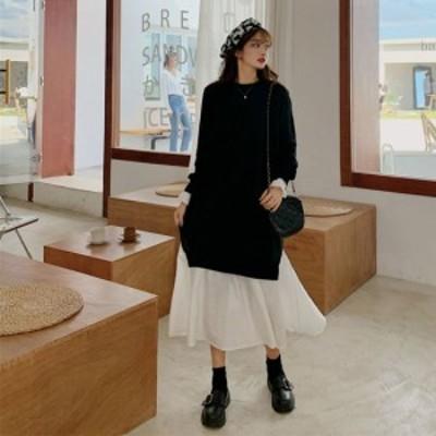 40代のファッションレディース ワンピース ロングワンピース ブラック 長袖 バイカラー 秋 冬 お洒落 綺麗め 大きめサイズ オフィスカジ
