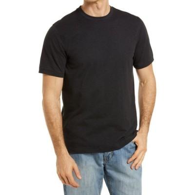 ノードストローム NORDSTROM メンズ Tシャツ トップス Tech-Smart Performance T-Shirt Black Feeder Stripe
