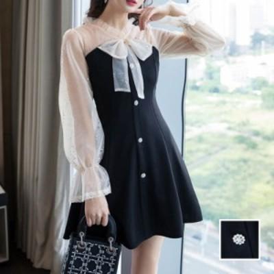 韓国 ファッション レディース ワンピース パーティードレス ショート ミニ丈 春 夏 秋 パーティー ブライダル naloJ403 結婚式 お呼ばれ