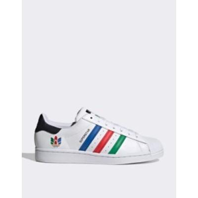 アディダス レディース スニーカー シューズ adidas Originals Superstar Oympics sneakers in white White