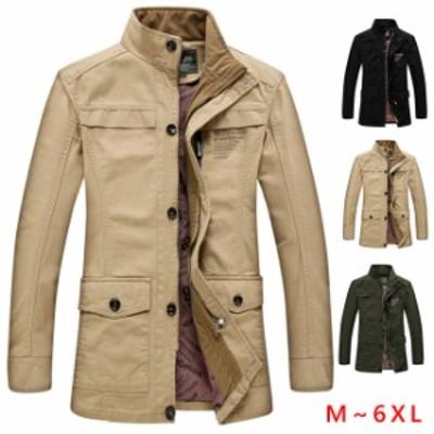 ミリタリージャケット メンズ アウタートップス コットン春秋薄手スタンドカラー カジュアル 大きいサイズ  M-7L