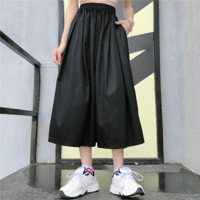 韓国 原宿系 レディースファッション スタイル ゆったり 無地 キュロット スカート カラフル  奇抜 青文字系 ボトムス