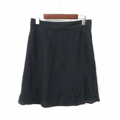 【中古】コントワーデコトニエ COMPTOIR DES COTONNIERS スカート 9 黒 ブラック シルク ピンタック ラップ ミニ 美品 レディース