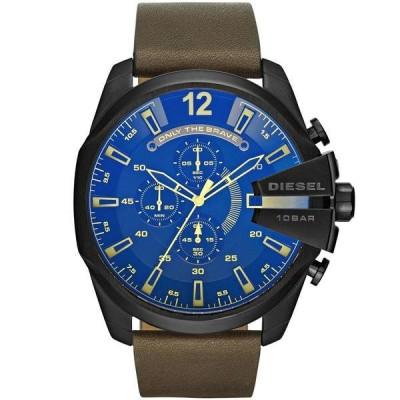 ディーゼル 腕時計 アクセサリー メンズ Men's Mega Chief Chronograph Brown Leather Watch 51mm Brown