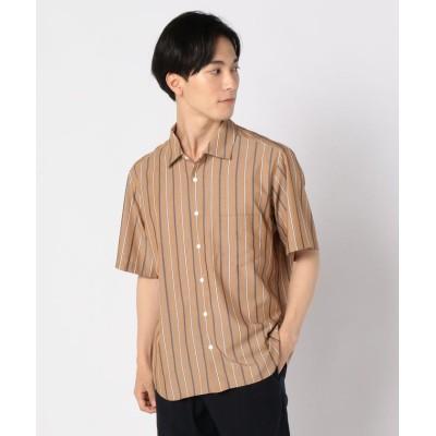 【フレディアンドグロスター】 ストライプ ポプリン ショートスリーブシャツ メンズ ブラウンベージュ系3 S FREDY&GLOSTER
