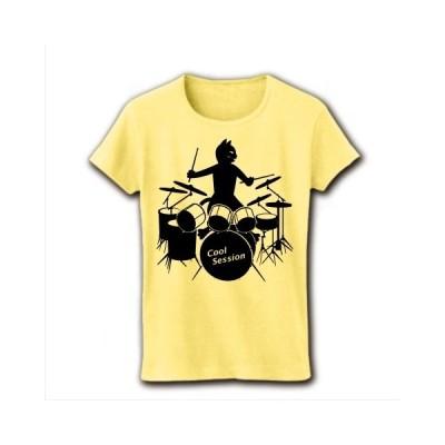 「クールセッション」ドラムと黒猫 リブクルーネックTシャツ(ライトイエロー)