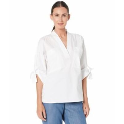 カルバンクライン レディース シャツ トップス V-Neck Blouse w/ Roll Sleeve Soft White