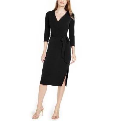 アイエヌシーインターナショナルコンセプト ワンピース トップス レディース INC Side-Tie Faux-Wrap Dress, Created for Macy's Deep Black
