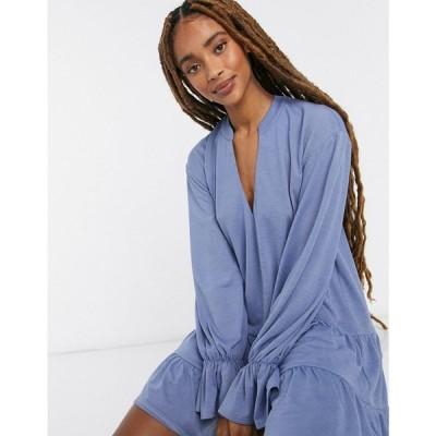 エイソス ASOS DESIGN レディース ワンピース ティアードドレス ワンピース・ドレス Tiered Long Sleeve Smock Dress ブルー