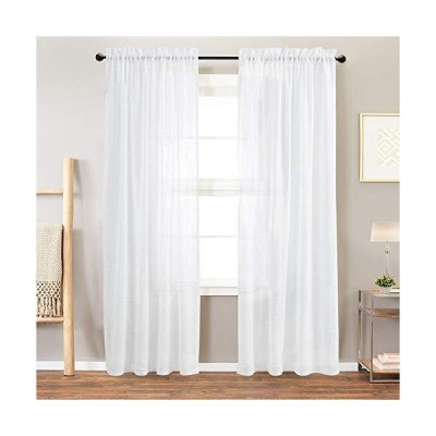 Vangao Linen Textrued Sheer Curtains for Living Room 84 Inches Length Semi Sheer for Bedroom Light Filtering Voile Rod Pocket Drapes,1 Pair,