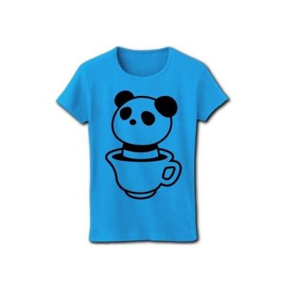 ティーカップパンダ リブクルーネックTシャツ(ターコイズ)