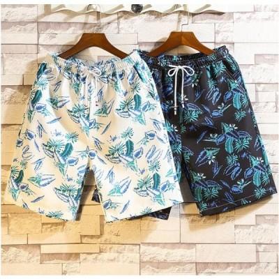 メンズ新作半ズボン パンツ ショート ハーフパンツ プリント 花柄  カジュアル 大きいサイズ
