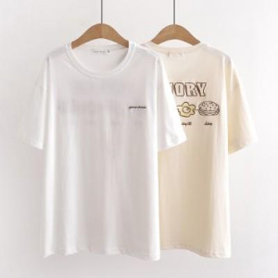 tシャツ 半袖 新作 ガールズ 女子 可愛いプリント トップス 夏服 半袖 Tシャツ ゆったり 綿 コットン 快適 カジュアル クルーネック