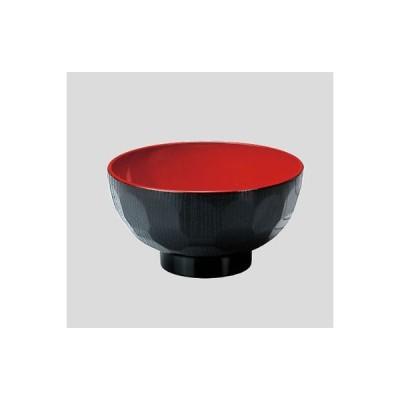Daiwa|プラスチック食器|ABS製|社員食堂|飲食店 10点セット 4寸亀甲汁椀 黒内朱(Φ117×H61mm・300ml) (台和)[ND-0417]