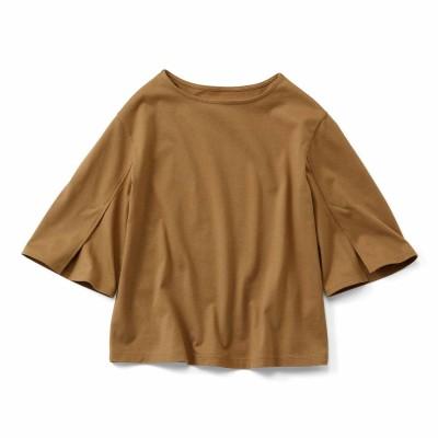 消臭機能×コットン100% 袖スリットデザイントップス〈ブラウン〉 IEDIT[イディット] フェリシモ FELISSIMO