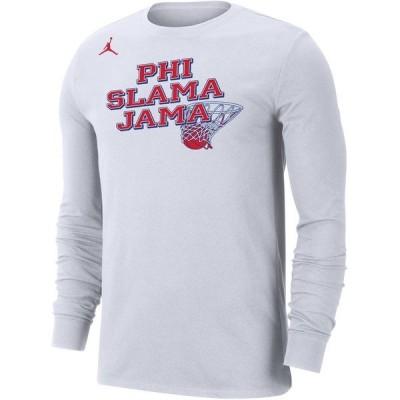 ジョーダン Tシャツ トップス メンズ Jordan Men's Phi Slama Jama Houston Cougars Long Sleeve T-shirt White