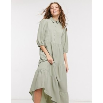 エイソス レディース ワンピース トップス ASOS DESIGN tiered midi smock shirt dress with pin tucks in khaki Khaki