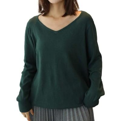 [ジェームズ・スクエア] Vネック ワイド リブ 綿ニット カットソー コットン 長袖 Tシャツ 7色展開 M5L トップス シャツ ティーシャツ