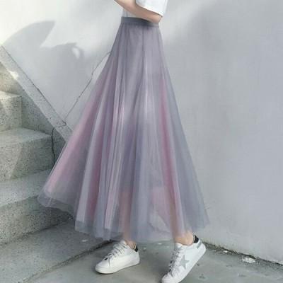 スカート レディース スカート チュールスカート シースルー ロングスカート かわいい マキシ丈 ウエストゴム 大きいサイズ フェミニン ツートーンカラー
