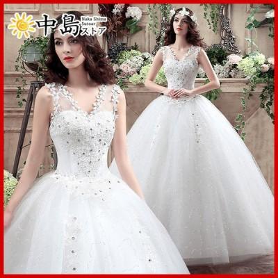 ウエディングドレス 結婚式ドレス プリンセスドレス 袖なし 花柄 花嫁ドレス 披露宴 前撮りドレス パーティードレス 二次会 演奏会 大人ピアノ