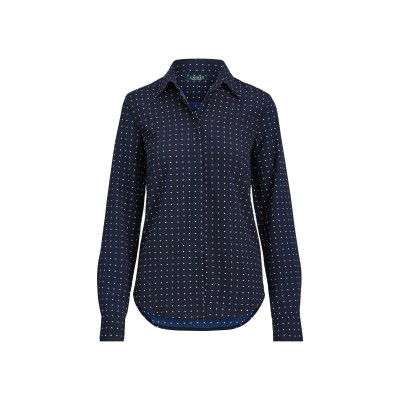 LAUREN RALPH LAUREN シャツ ダークブルー XS ポリエステル 100% シャツ