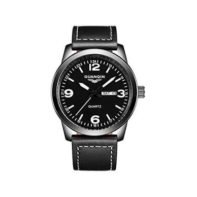 メンズスポーツカジュアルレザーストラップ腕時計ファッション防水曜日日付クォーツ時計 41mm ホワイト