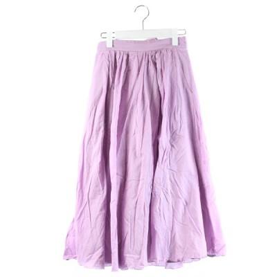 【中古】スナイデル snidel 19SS スカート フレア ギャザー ロング マキシ丈 リボン 紫 1 /DK16 レディース 【ベクトル 古着】
