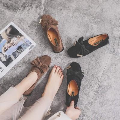 スエード レディース パンプス 快適 靴 プレーン オペラパンプス スクエア靴 フラットシューズ ローヒール パーティー シューズ