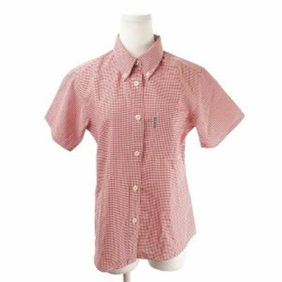 【中古】モンベル Montbell シャツ 半袖 ボタンダウン アウトドア チェック S 赤 レッド /AH6 ☆ レディース