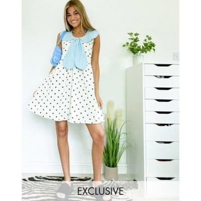 ネイティブユース レディース ワンピース トップス Native Youth mini smock dress in polka dot with cute tie collar