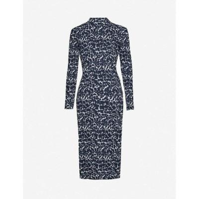 テッドベーカー TED BAKER レディース ワンピース ワンピース・ドレス Liniee leopard-print bodcon crepe dress BLACK