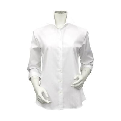 【トーキョーシャツ】 形態安定 スキッパー衿 オーガニック綿100% 七分袖ビジネスシャツ レディース シロ XL TOKYO SHIRTS