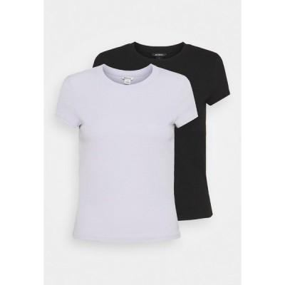 モンキ Tシャツ レディース トップス MAGDALENA TEE 2 PACK - Print T-shirt - black dark solid/lilac