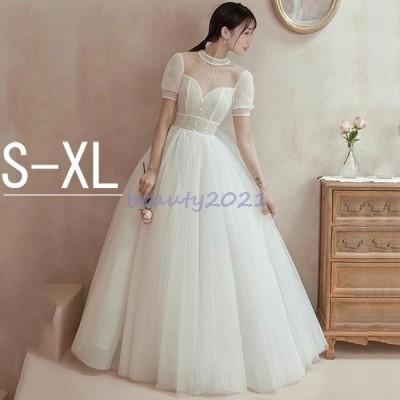 ウェディングドレス 花嫁ドレス プリンセスドレス レース パーティー 披露宴 撮影 二次会、披露宴や演奏会にもどうぞ ホワイト