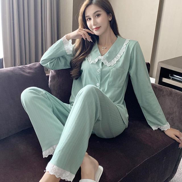 【maggie+】秋冬上市 甜美開襟翻領針織雙層棉質長袖兩件套家居服套裝-綠色