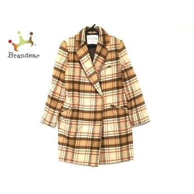 ミーア Miia コート サイズ2 M レディース 美品 ブラウン×アイボリー×マルチ チェック柄/冬物   スペシャル特価 20200302